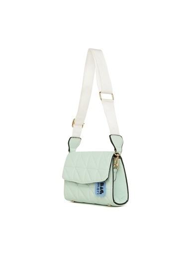 Bagmori  Kadın Üçgen Nakışlı Kapaklı Mini Çanta M000006040 Yeşil